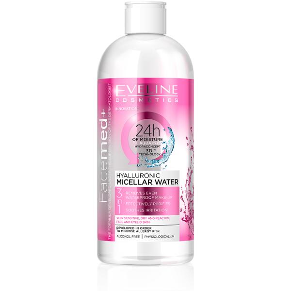 Eveline Micellar Water 3in1 Hyaluronic 400ml